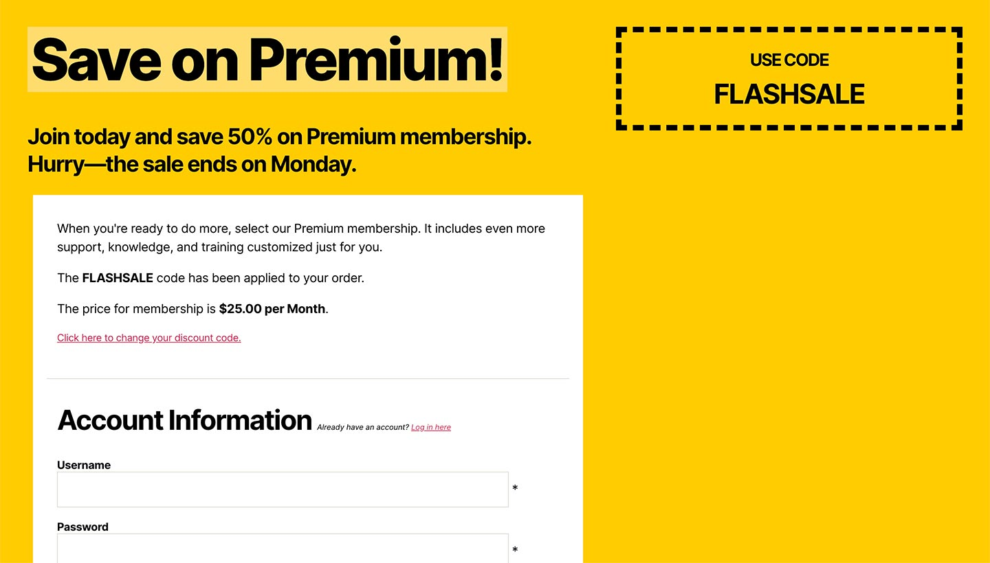Screenshot of the Sitewide Sales Fancy Coupon Landing Page for Paid Memberships Pro