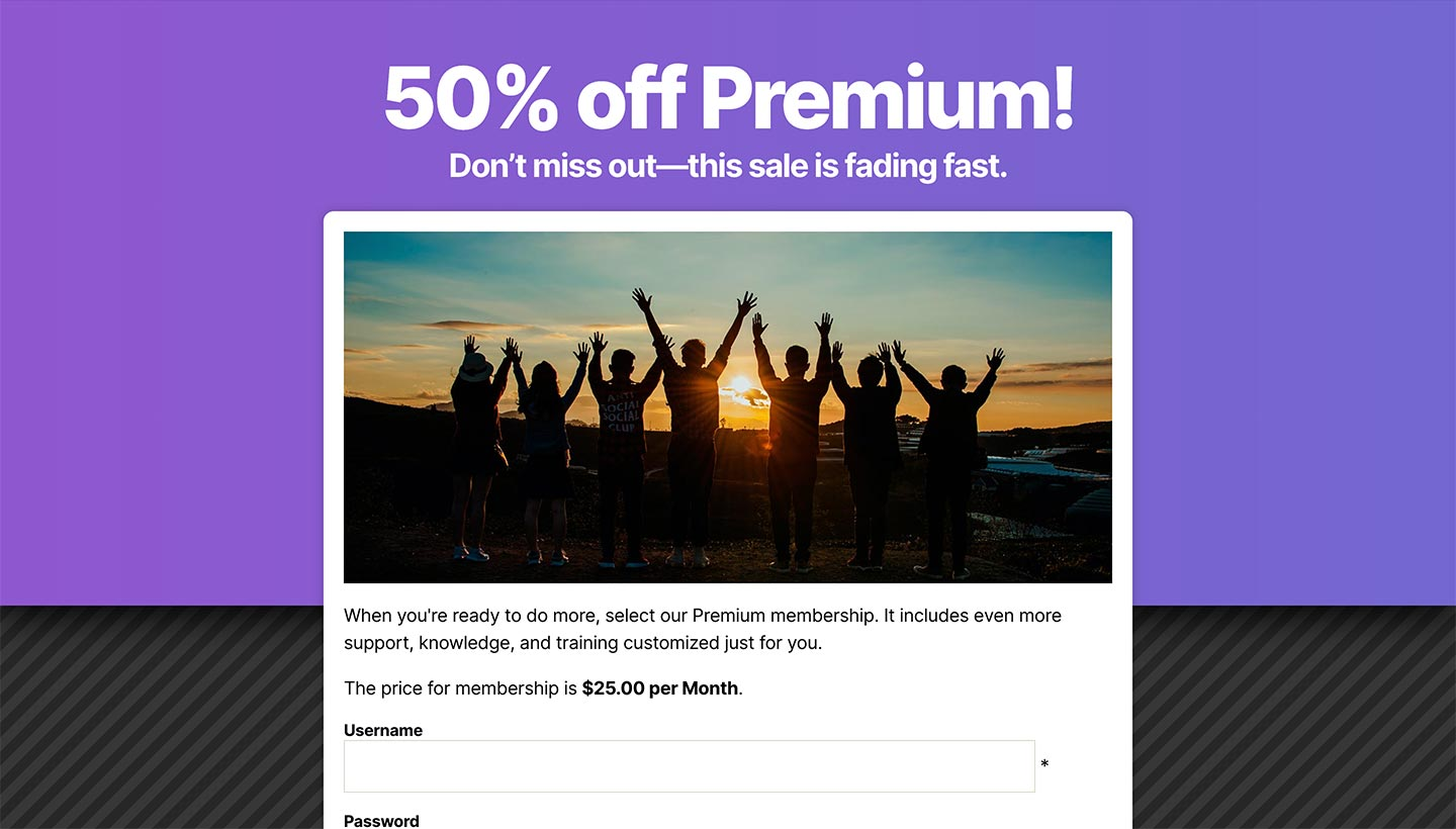 Screenshot of the Sitewide Sales Gradient Landing Page for Paid Memberships Pro