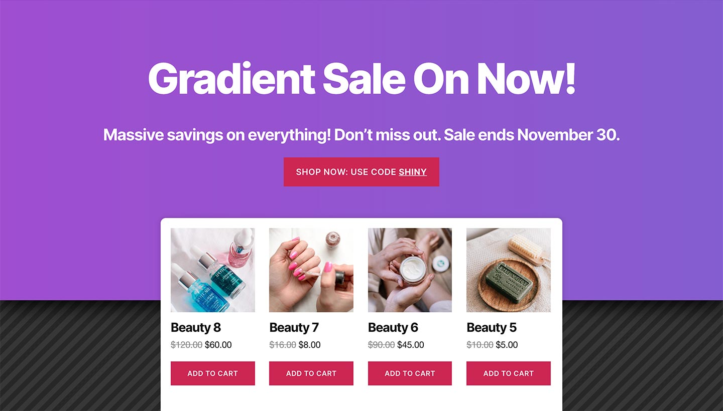 Screenshot of the Sitewide Sales Gradient Landing Page for WooCommerce