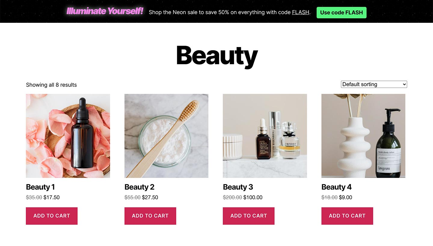 Screenshot of the Sitewide Sales Neon Top Banner for WooCommerce
