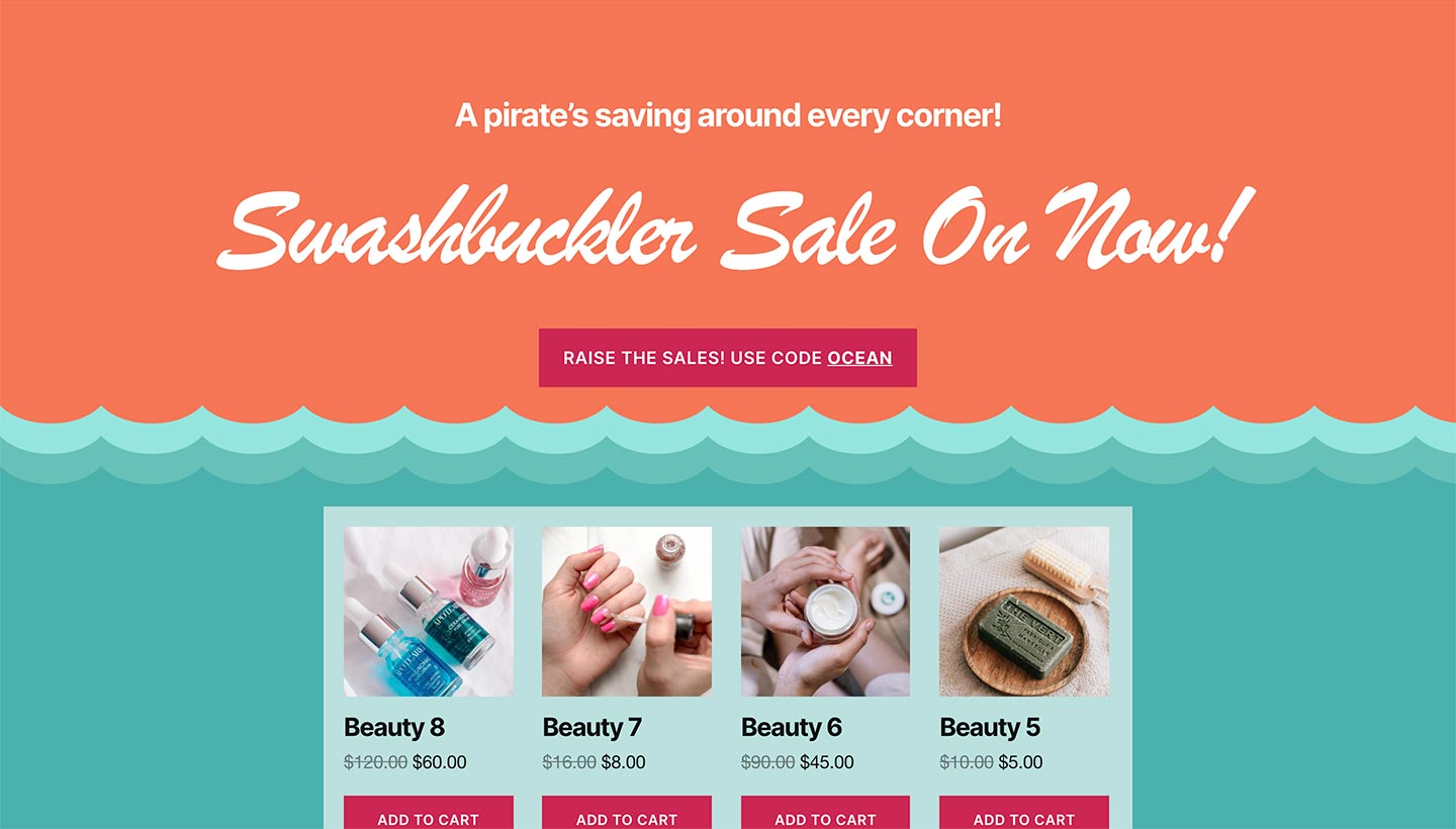Screenshot of the Sitewide Sales Ocean Landing Page for WooCommerce