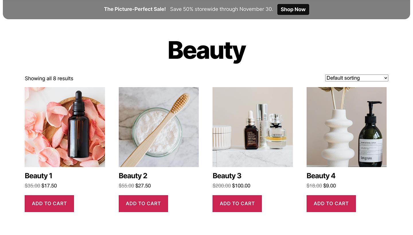 Screenshot of the Sitewide Sales Photo Top Banner for WooCommerce