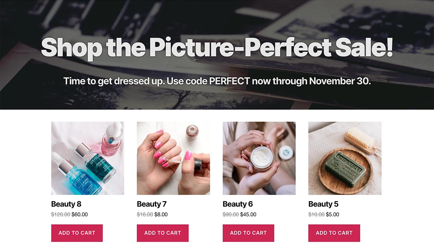Screenshot of the Sitewide Sales Photo Landing Page for WooCommerce