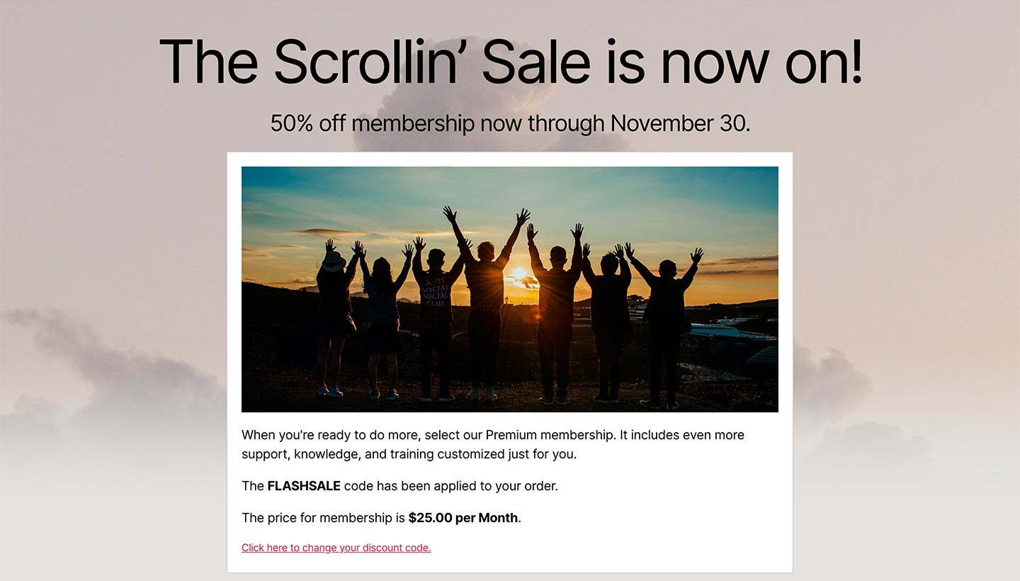 Screenshot of the Sitewide Sales Scroll Landing Page for Paid Memberships Pro