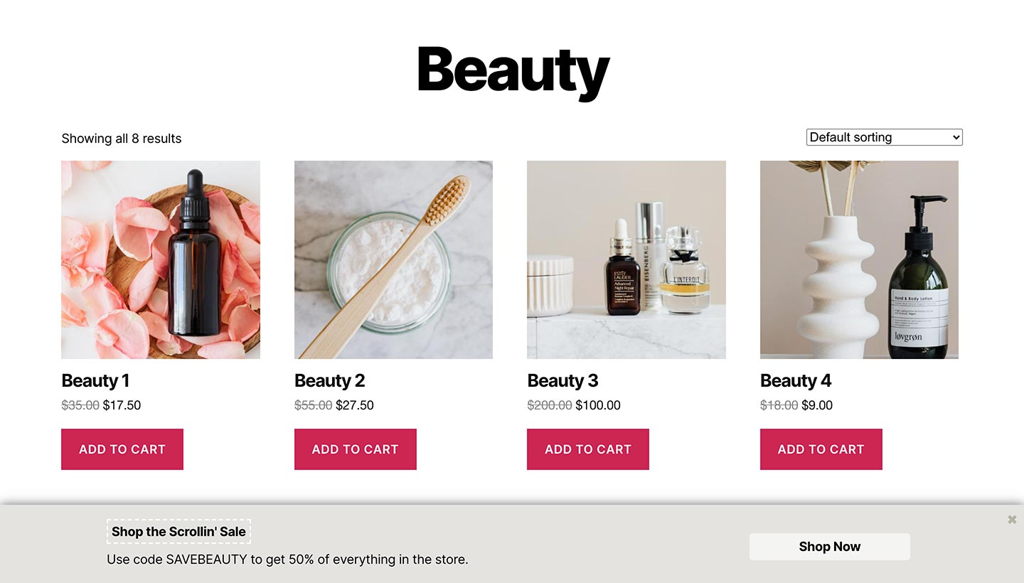 Screenshot of the Sitewide Sales Scroll Bottom Banner for WooCommerce