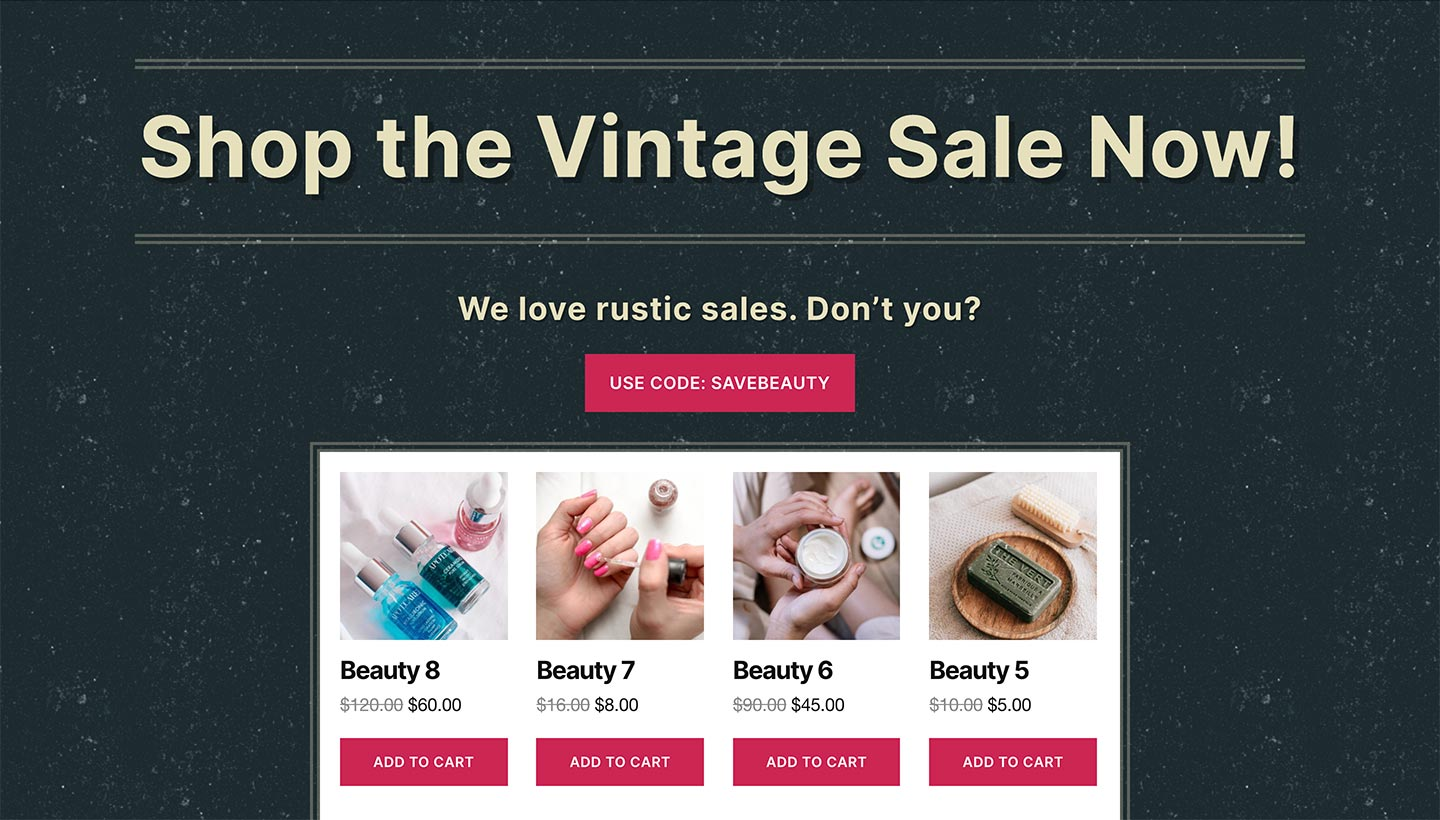 Screenshot of the Sitewide Sales Vintage Landing Page for WooCommerce