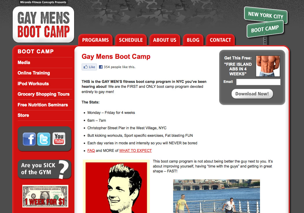 Gay Men's Boot Camp. Content. Visit the Website | Request a Project Quote