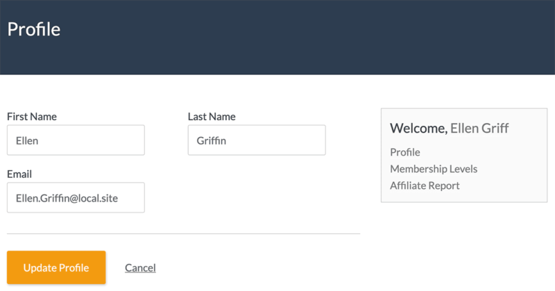 Paid Memberships Pro's frontend Member Profile Edit page with Display Name field removed.